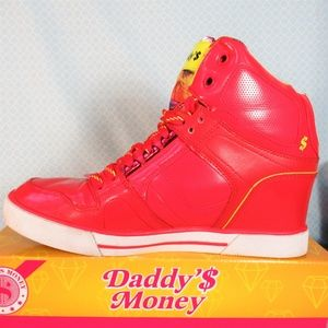 Skechers Daddy's Money Cha-Ching! Red Wedge Sneaks
